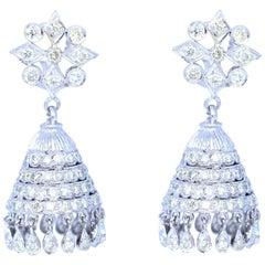 10 Carat Diamond Chandelier Earrings White Gold, 1970