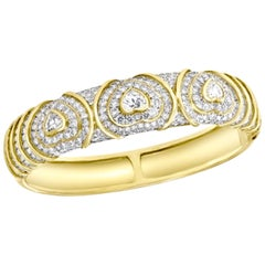 10 Carat Diamond Heart Shape Bangle /Bracelet in 18 Karat Yellow Gold 48 Grams