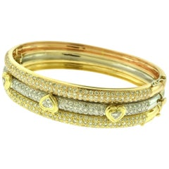 10 Carat Diamond Paved Heart Bangle in Tri-Color Yellow, White, and Rose Gold
