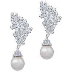 10 Carat Diamond and Pearl Drop Earrings 18 Karat White Gold