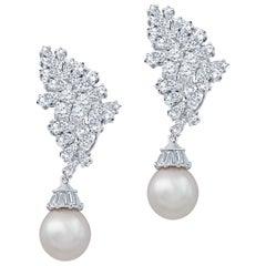10 Carat Diamond and Pearl Drop Earrings 18 Karat White Gold