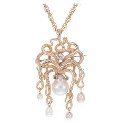 .10 Carat Diamond Pearl Garnet Yellow Gold Octopus Brooch Pendant Necklace