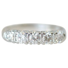 1.0 Carat Diamond Platinum 5-Stone Band, circa 1940s
