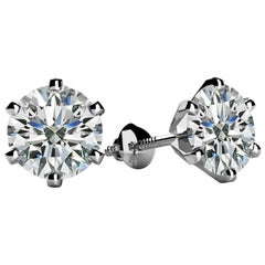 1.0 Carat Diamond Solitaire Stud Earrings 6 Prongs Screw Back 18 Kt White Gold