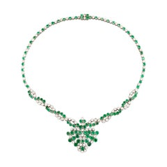 10 Carat Diamonds and 12 Carat Emeralds Necklace