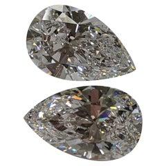 10 Carat Each D Flawless Pear Shape Diamonds for Earrings or Custom Design, GIA