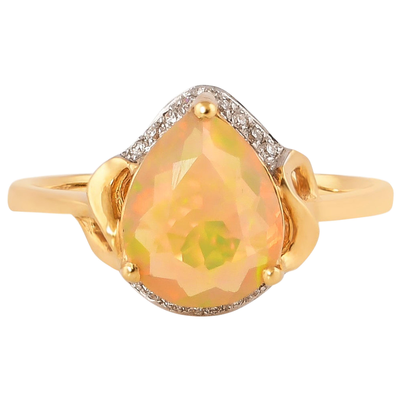 1.0 Carat Ethiopian Opal with Diamond Ring in 18 Karat Yellow Gold