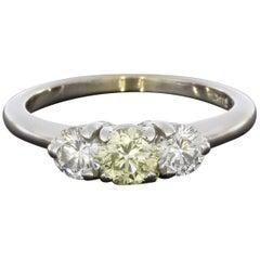 1.0 Carat Fancy Light Yellow Round Diamond 3-Stone Engagement Ring