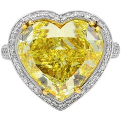 10 Carat Fancy Yellow Heart Shaped Diamond Engagement Ring 10.05 Carat GIA