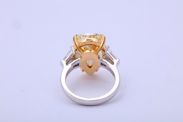 10 Carat Fancy Yellow Pear Shape Ring GIA Certified For Sale 2