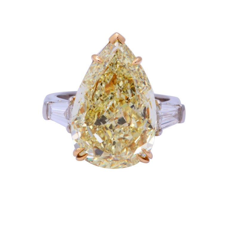 10 Carat Fancy Yellow Pear Shape Ring GIA Certified For Sale