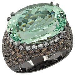 10 Carat Green Amethyst and Diamond Cocktail Ring