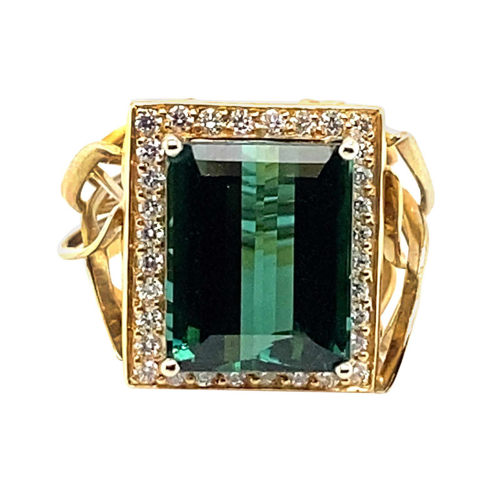 10 Carat Indicolite Tourmaline with .60 Carats of Diamonds