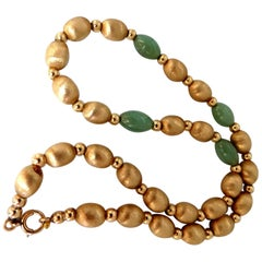 10 Carat Jade Bead and Brushed Bead Necklace 14 Karat