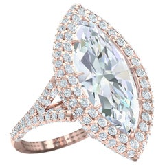 10 Carat Marquise Cut GIA Certified Engagement Ring Rose Gold