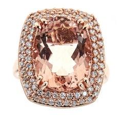 10 Carat Morganite and Diamond Ring in 14 Karat Rose Gold