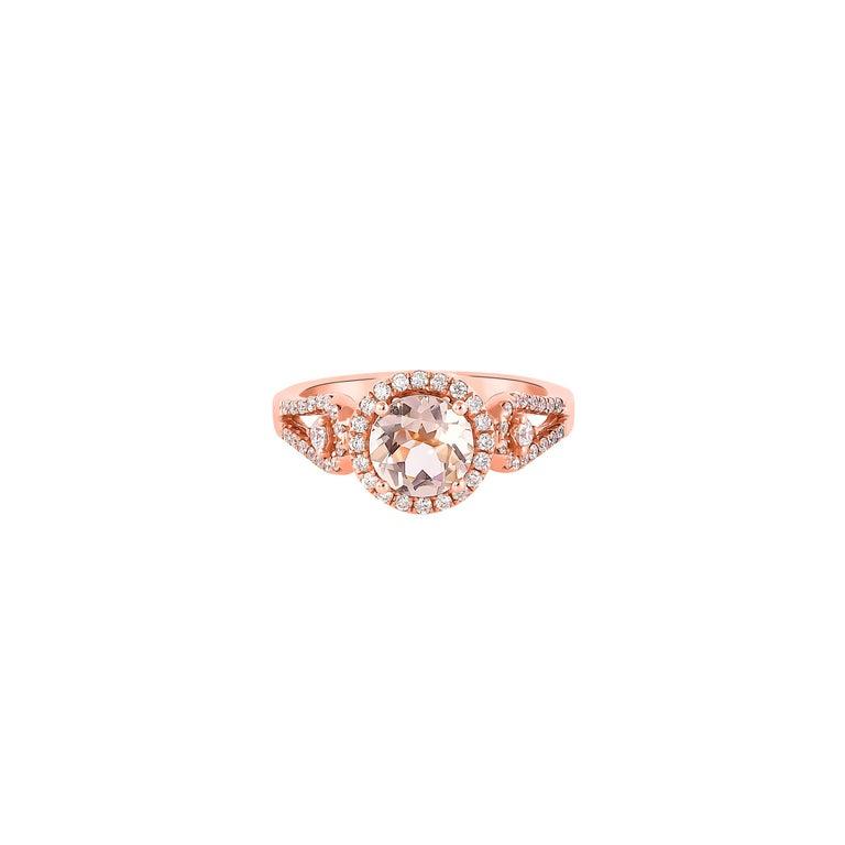 Round Cut 1.0 Carat Morganite and Diamond Ring in 18 Karat Rose Gold For Sale