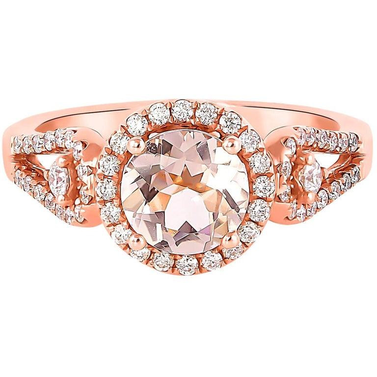 1.0 Carat Morganite and Diamond Ring in 18 Karat Rose Gold For Sale