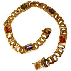 10 Carat Natural Amethyst Citrine Peridot Hinge Linked Bracelet 14 Karat