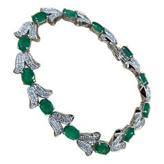 10 Carat Natural Brazilian Emerald & Diamond Tennis Bracelet 14 Karat White Gold