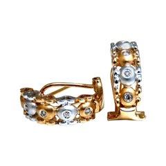 .10 Carat Natural Diamonds Semi Hoop Clip Earrings 14 Karat Gold Heart Profiles