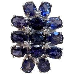 10 Carat Natural Iolite and Diamond Cocktail Ring in 18 Karat White Gold Estate