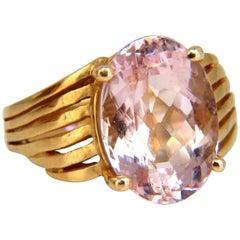 10 Carat Natural Pink Morganite Solitaire Ring 14 Karat