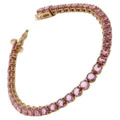 10 Carat Natural Pink Sapphire Rose Gold Tennis Bracelet