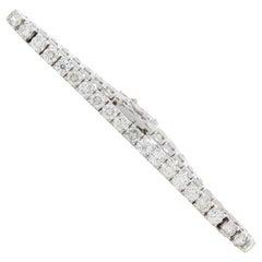 10 Carat Natural Round Diamond 4-Prong Tennis Bracelet in 14k White Gold