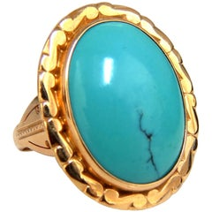10 Carat Natural Turquoise Ring Prime Robin's Egg 18 Karat Vintage