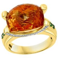 10 Carat Oval Citrine Tsavorite and Diamond Ring in 18 Karat Yellow Gold, Estate