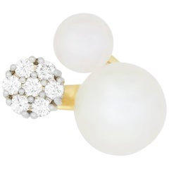 1 Carat Double Pearl and 0.72 Carat Diamond Flower Ring