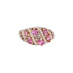 1.0 Carat Pink Sapphire Ring with Diamond in 18 Karat Rose Gold