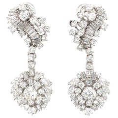 10 Carat Round and Fancy Shaped Diamond 18 Karat White Gold Cluster Earrings