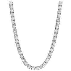 10 Carat Round Brilliant Cut Diamond Tennis Necklace Set in 18 Carat White Gold