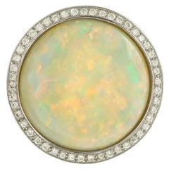 10 Carat Round Opal Diamonds 18 Karat White Gold Ring