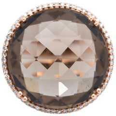 10 Carat Smokey Quartz and Diamond 14 Karat Rose Gold Ring