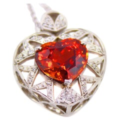 10 Carat Spessartine Garnet Diamond Pendant Necklace