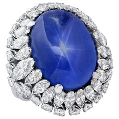 10 Carat Star Sapphire and Diamond Ring