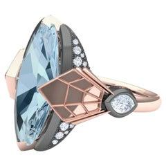 10 Carat Steel Blue Topaz and Diamond Rose Gold Ring Carpenter & Sons