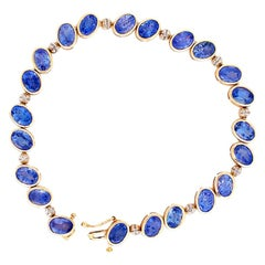 10 Carat Tanzanite and Diamond Yellow Gold Ladies Bracelet