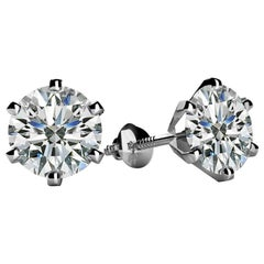 1.0 Carat Total Diamond Solitaire Stud Earrings 6 Prongs 18 Karat White Gold