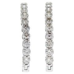 10 Carat Total Weight Diamond Inside-Outside Hoop Earrings in 14 Karat Gold