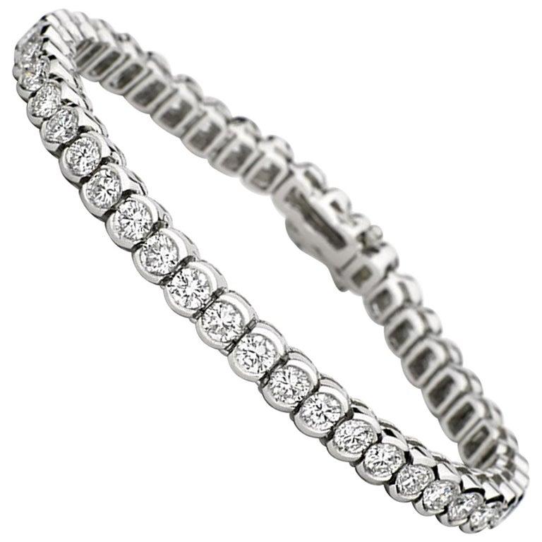 e87b7e1e74e 10 Carat Total Weight Platinum Diamond Tennis Bracelet Bezel Set ...