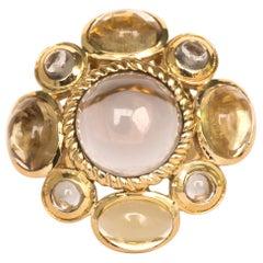 10 Carat Total Weight Quartz Yellow Gold Ring