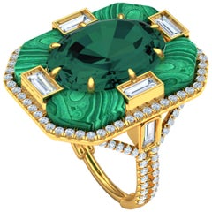 10 Carat Tourmaline and Malachite Diamond Cocktail Ring