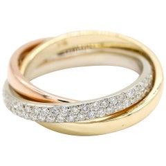 1.0 Carat Triple Band Diamond Ring in 14 Karat Yellow Gold Triple-Tone Gold Ring