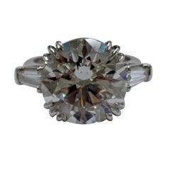 10 Carat Triple Excellent Round Brilliant Diamond Ring Set in Platinum, GIA