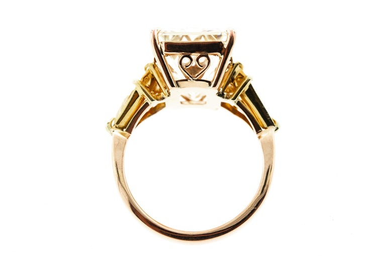 Modern 10 Carat Vintage Emerald Cut Diamond Ring with Side Trillions For Sale