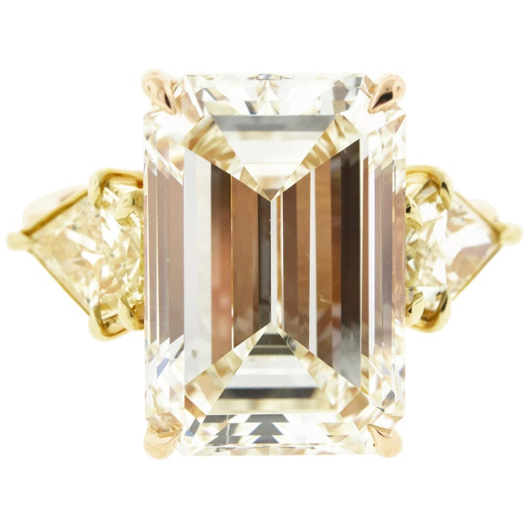 10 Carat Vintage Emerald Cut Diamond Ring with Side Trillions For Sale